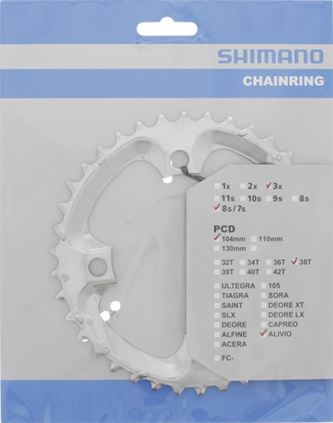 Shimano Kettenblatt Alivio FC-M411, 38 Zähne silber 104 mm